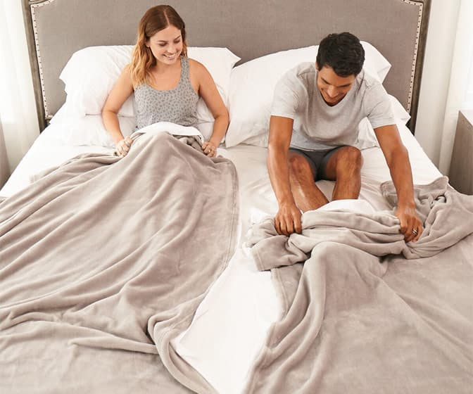 Split Couple Blanket and Sheet Bedding Set