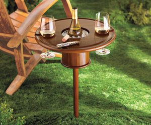 Staked Mahogany Lawn Table with Bottle Cooler