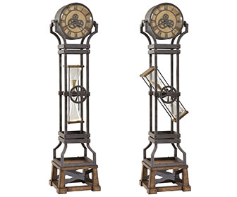 Steampunk Hour Glass Grandfather Clock