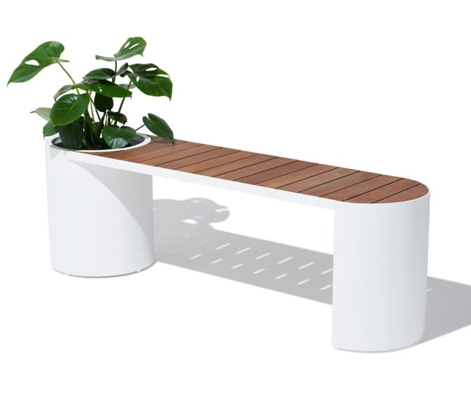 Teak and Aluminum Planter Bench