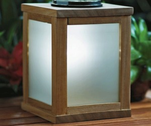 Teak Solar-Powered Lantern