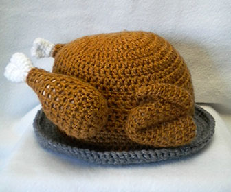 80020064261 Thanksgiving Turkey Platter Crocheted Hat
