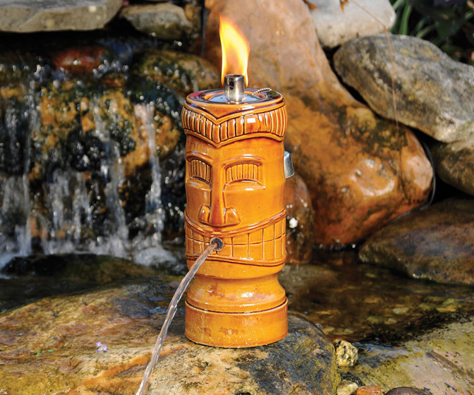 Tiki Torch Water Spitter - Illuminates and Aerates Backyard Ponds