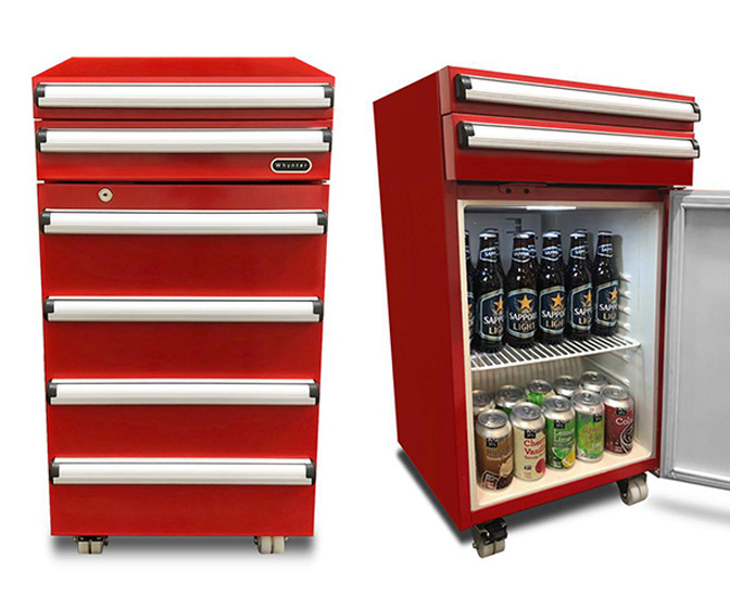Tool Chest Mini Fridge w/ Sliding Drawers