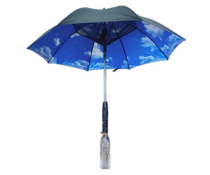 Umbrella with Built-In Cooling Fan and Mist Spray