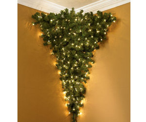 upside down corner pre lit christmas tree - Flat Back Christmas Tree