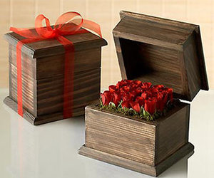 Valentine Baby Rose Blooms in a Handcrafted Wooden Box