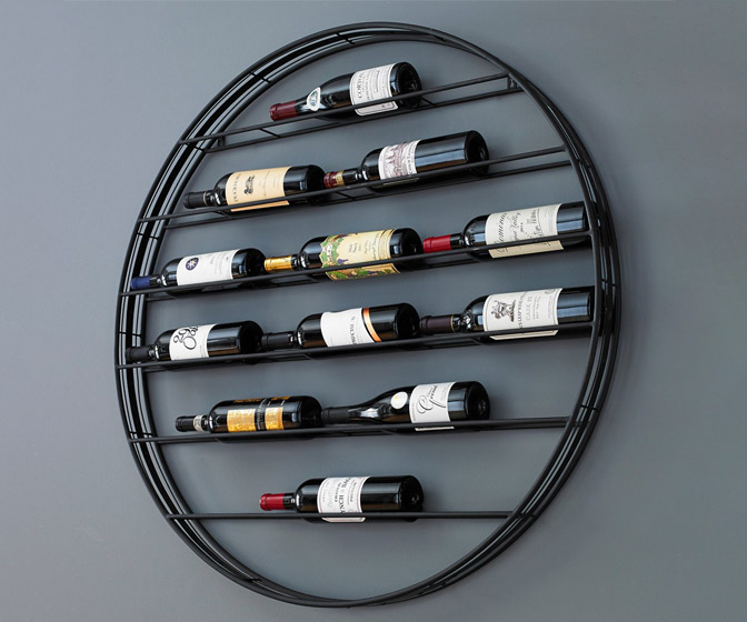 Wall-Mounted 12 Bottle Label View Wine Rack / Wall Art