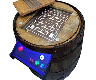 Whiskey Barrel Arcade Cocktail Table - 60 Games