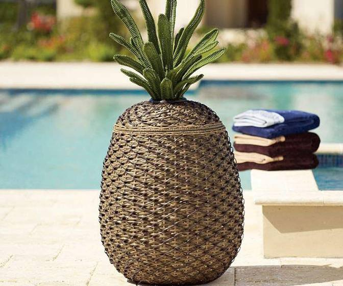 Wicker Pineapple Storage Basket / Hamper