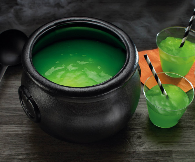 Witches' Brew Green Slime Punch Cauldron - Glows Under Black Lights!