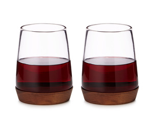Wooden Base Stemless Wine Glasses