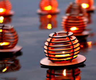 Wooden Floating Tealight Lanterns