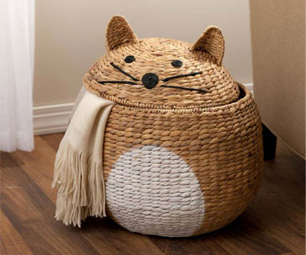 Woven Cat-Shaped Storage Basket / Laundry Hamper