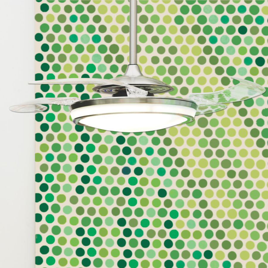 Ceiling fan light with retractable blades of