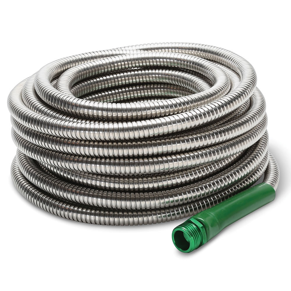 indestructible stainless steel garden hose the green head