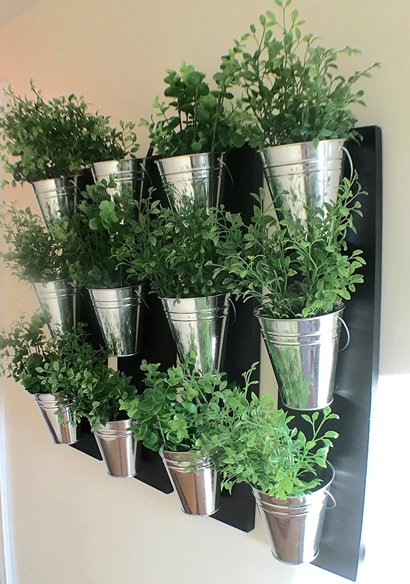vertical indoor wall planter with galvanized steel pots the