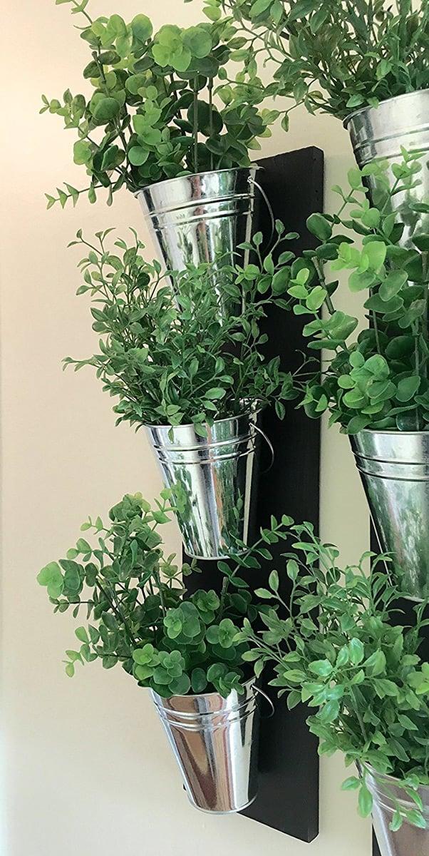 Vertical Indoor Wall Planter With Galvanized Steel Pots