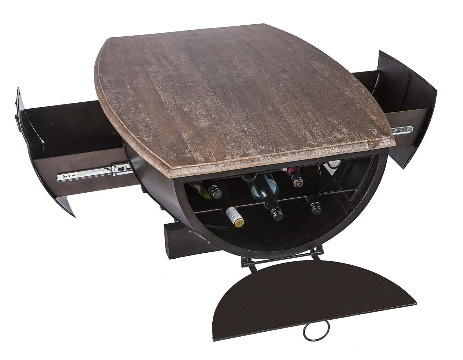 industrial half barrel coffee table w wine storage 4 Amazon Coffee Tables With Drawers