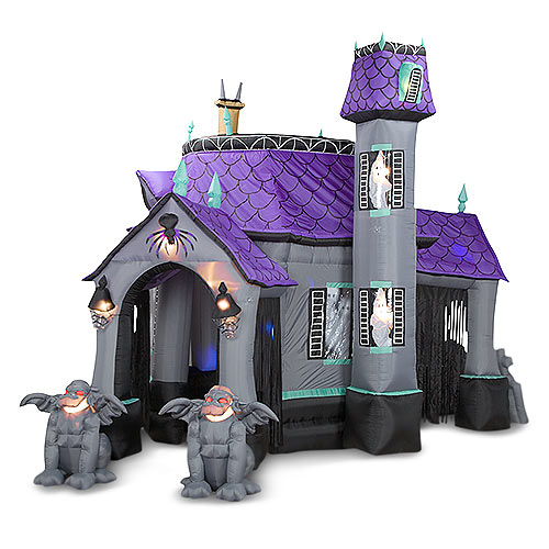 Inflatable halloween haunted house the green head for Decoration maison walmart