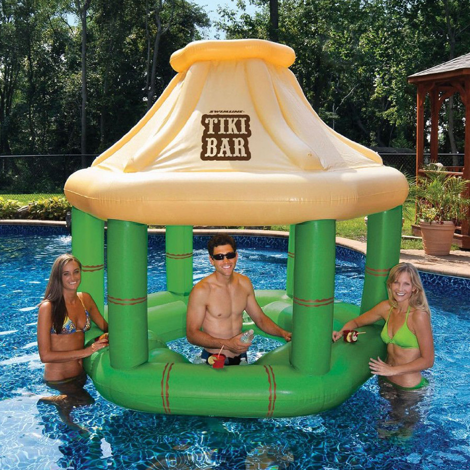 Inflatable floating swim up tiki bar the green head for Pool design with swim up bar