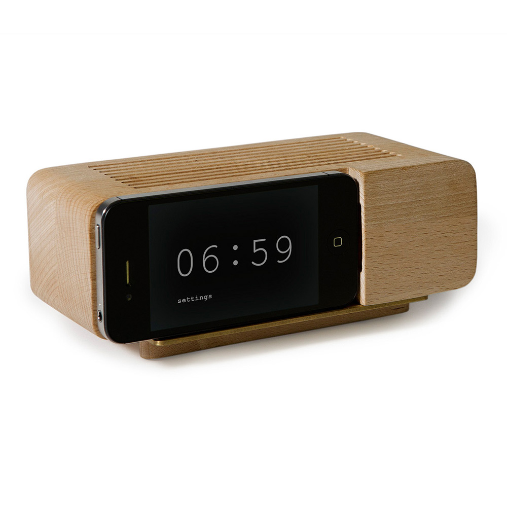iphone wooden alarm clock the green head. Black Bedroom Furniture Sets. Home Design Ideas