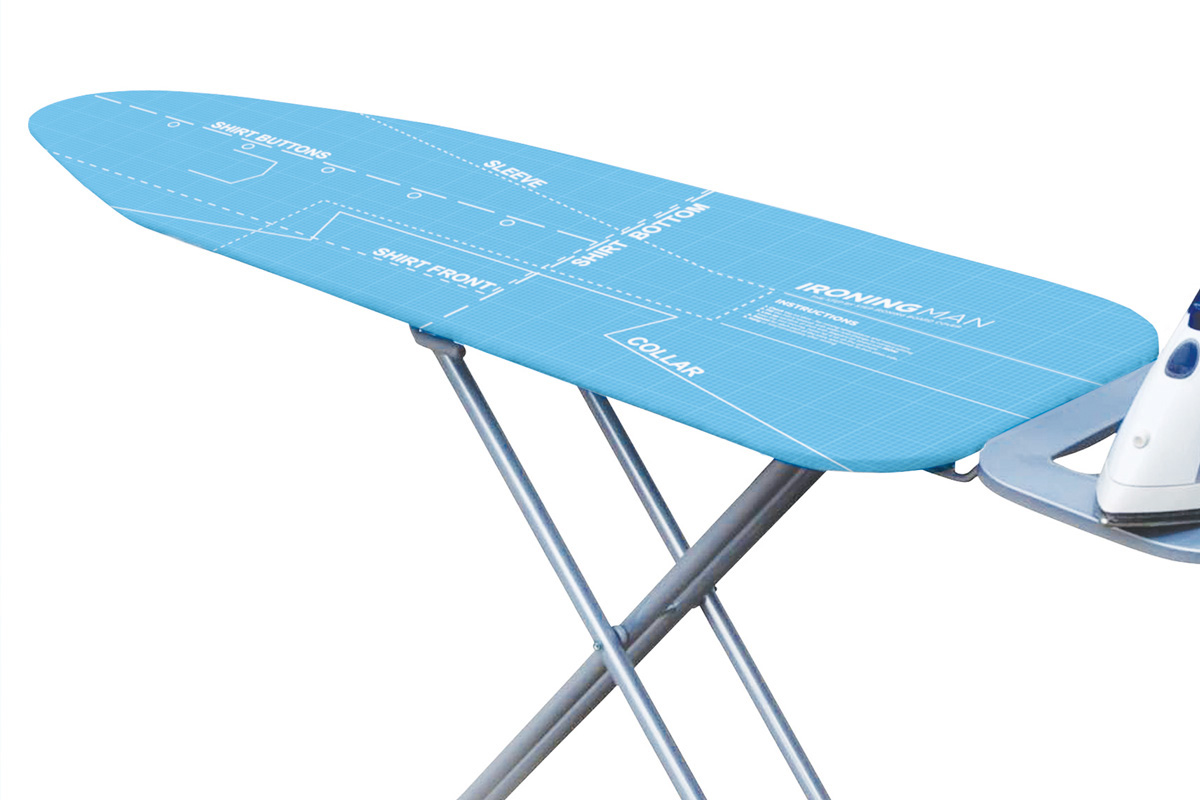 ironing man instructional ironing board cover the. Black Bedroom Furniture Sets. Home Design Ideas