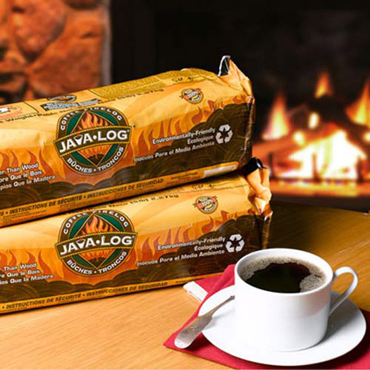 Java Log - Recycled Coffee Grounds Fireplace Logs - The Green Head