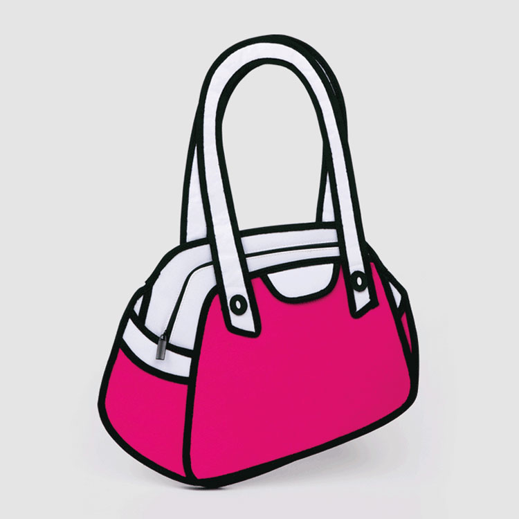 Cartoon bags let you carry your sense of fun right over your shoulder, showing the world your offbeat style. The hip and happening bags might showcase an entire cartoon scene or be made up of the head or face of a cartoon character.