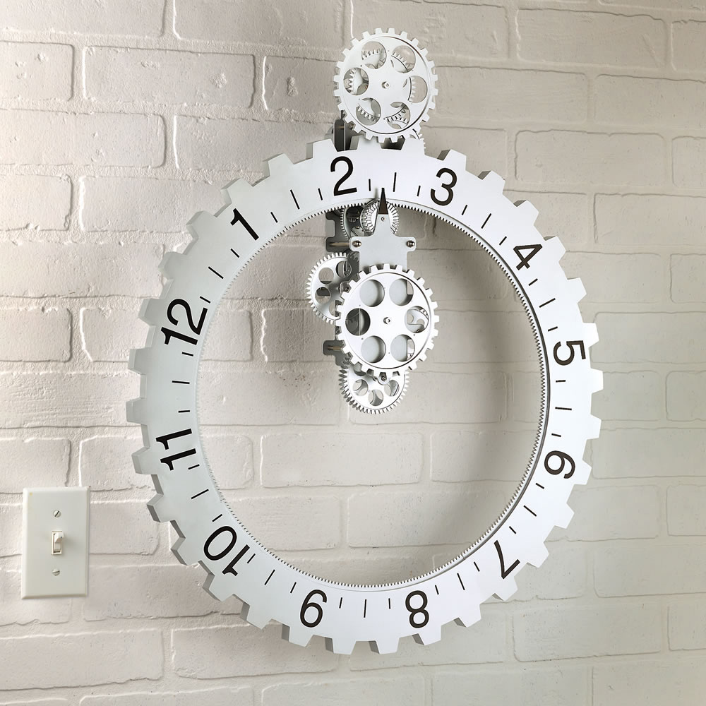 Kikkerland Big Wheel Revolving Gear Wall Clock The Green Head