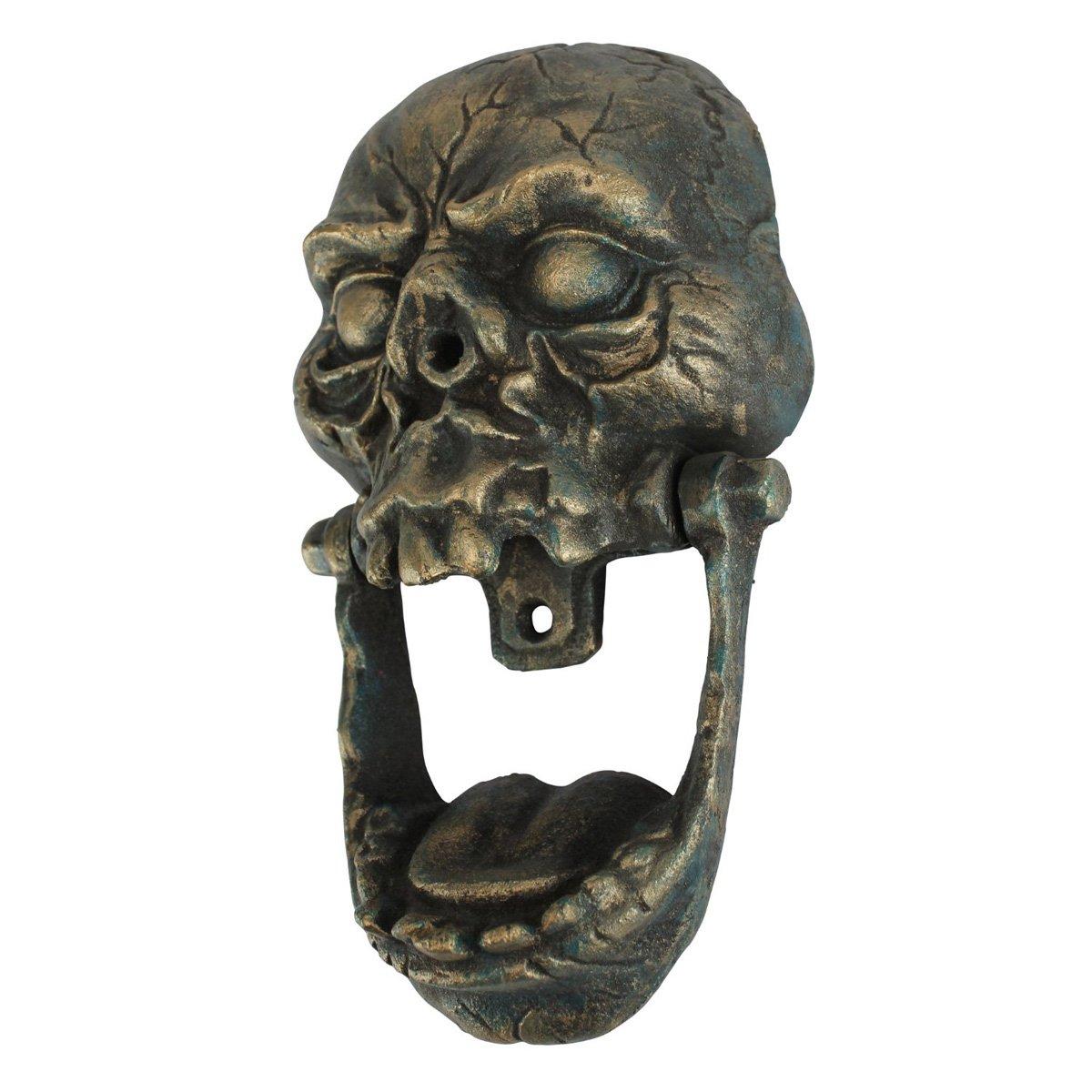 Knock jaw cast iron skull door knocker the green head