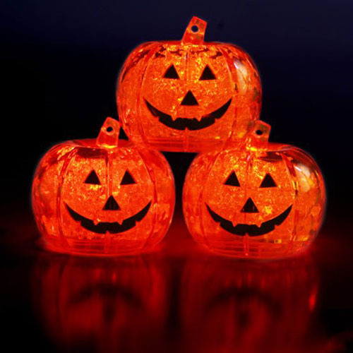 Led light up ice cube pumpkins the green head