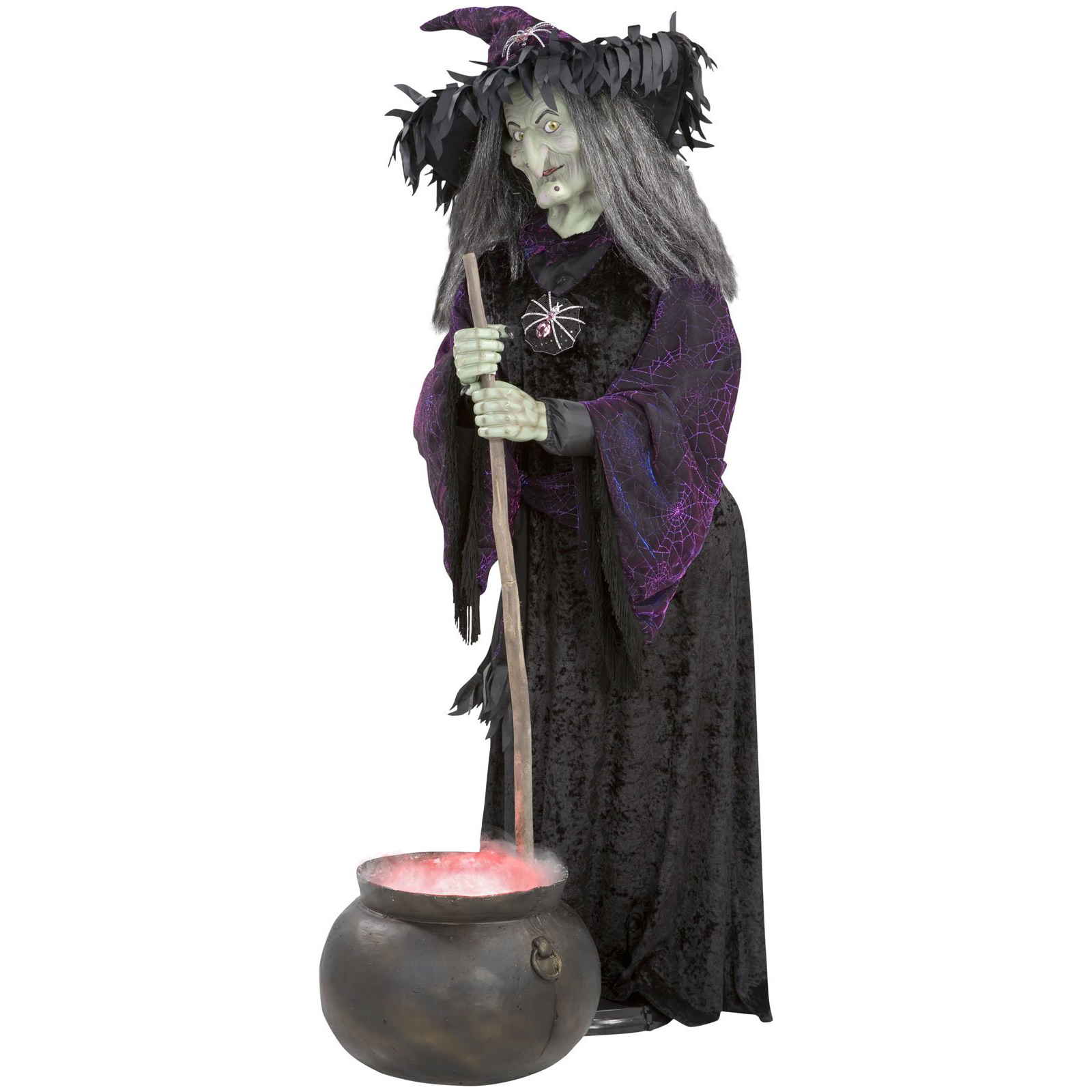Lifesize animated halloween witch w bubbling cauldron for Animated halloween decoration