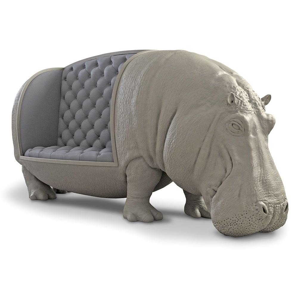 Lifesize Hippopotamus Sofa Statue The Green Head