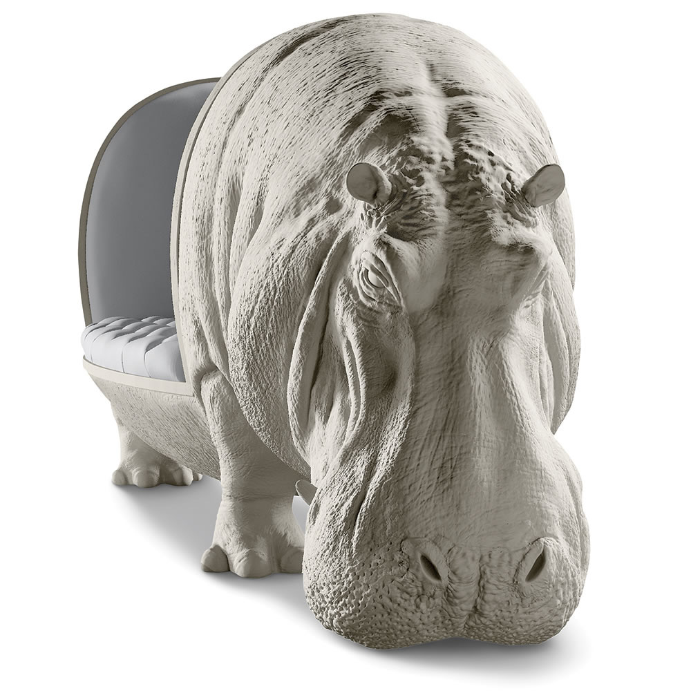 Lifesize Hippopotamus Sofa Statue on Wooden Legs Couch