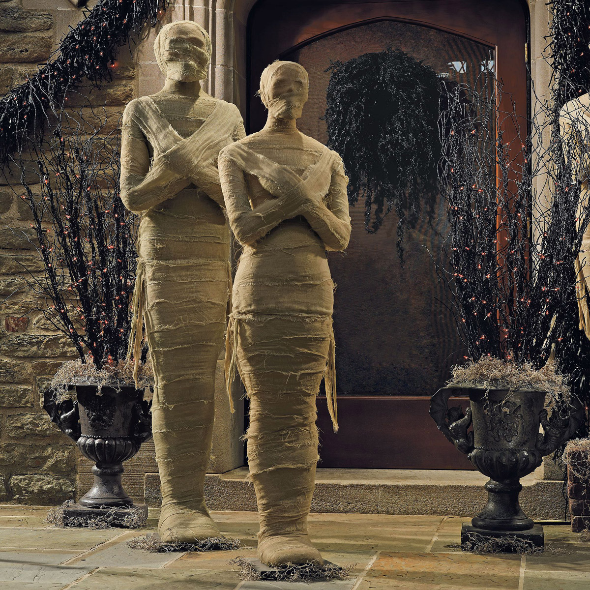 lifesized wrapped mummy statues - Halloween Statues