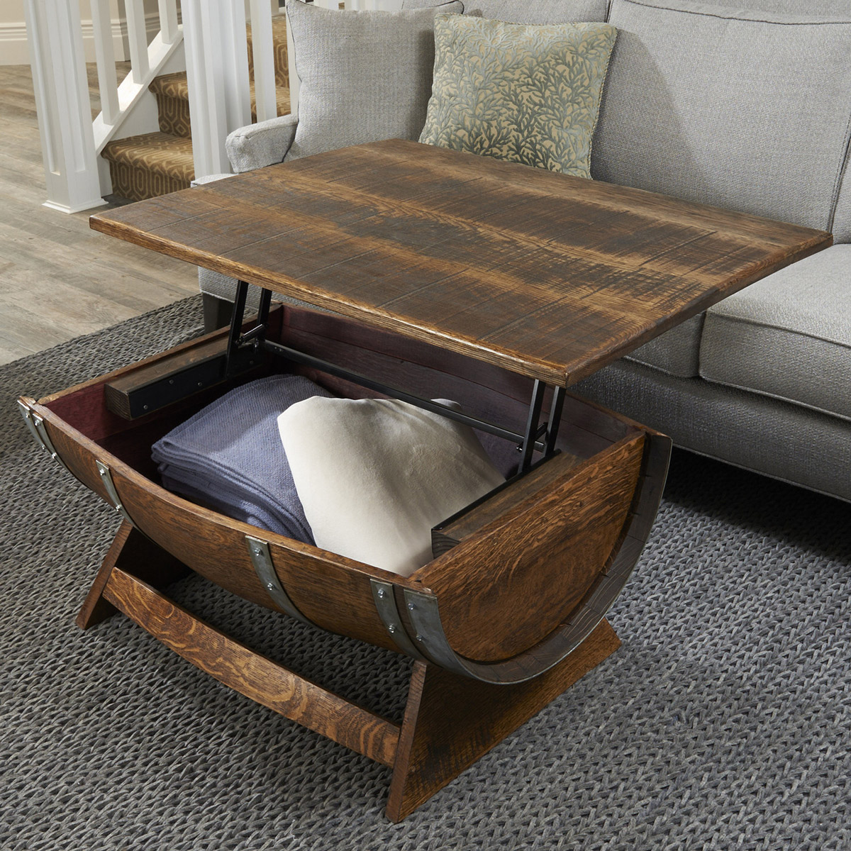 Prime Lift Top Reclaimed Wine Barrel Coffee Table Cjindustries Chair Design For Home Cjindustriesco