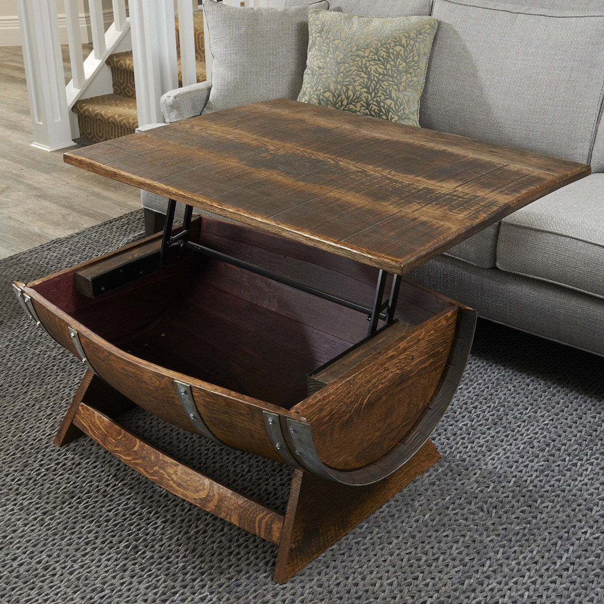 Lift Top Reclaimed Wine Barrel Coffee Table