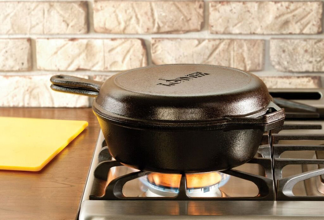 Lodge 2 In 1 Cast Iron Combo Cooker Dutch Oven And