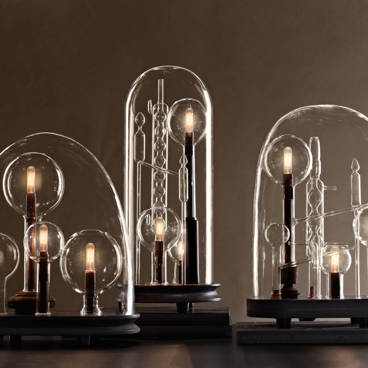 mad scientist chemistry lamps beneath glass cloches the green head. Black Bedroom Furniture Sets. Home Design Ideas