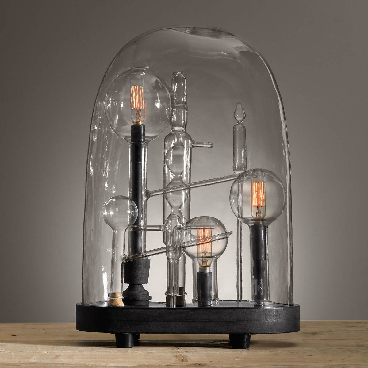 Mad Scientist Chemistry Lamps Beneath Glass Cloches The