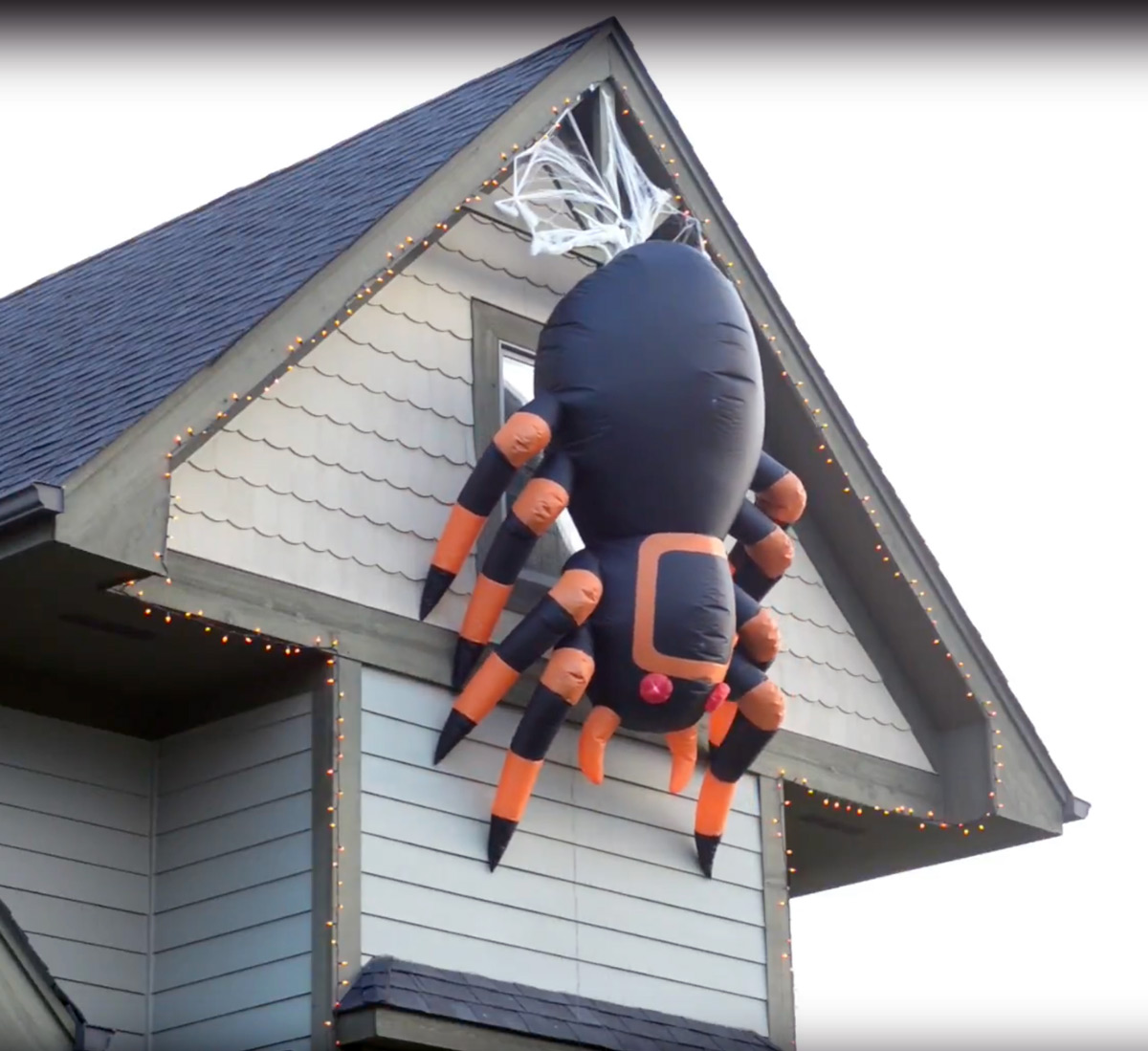 Massive Animated Inflatable Spider Creeps Up And Down