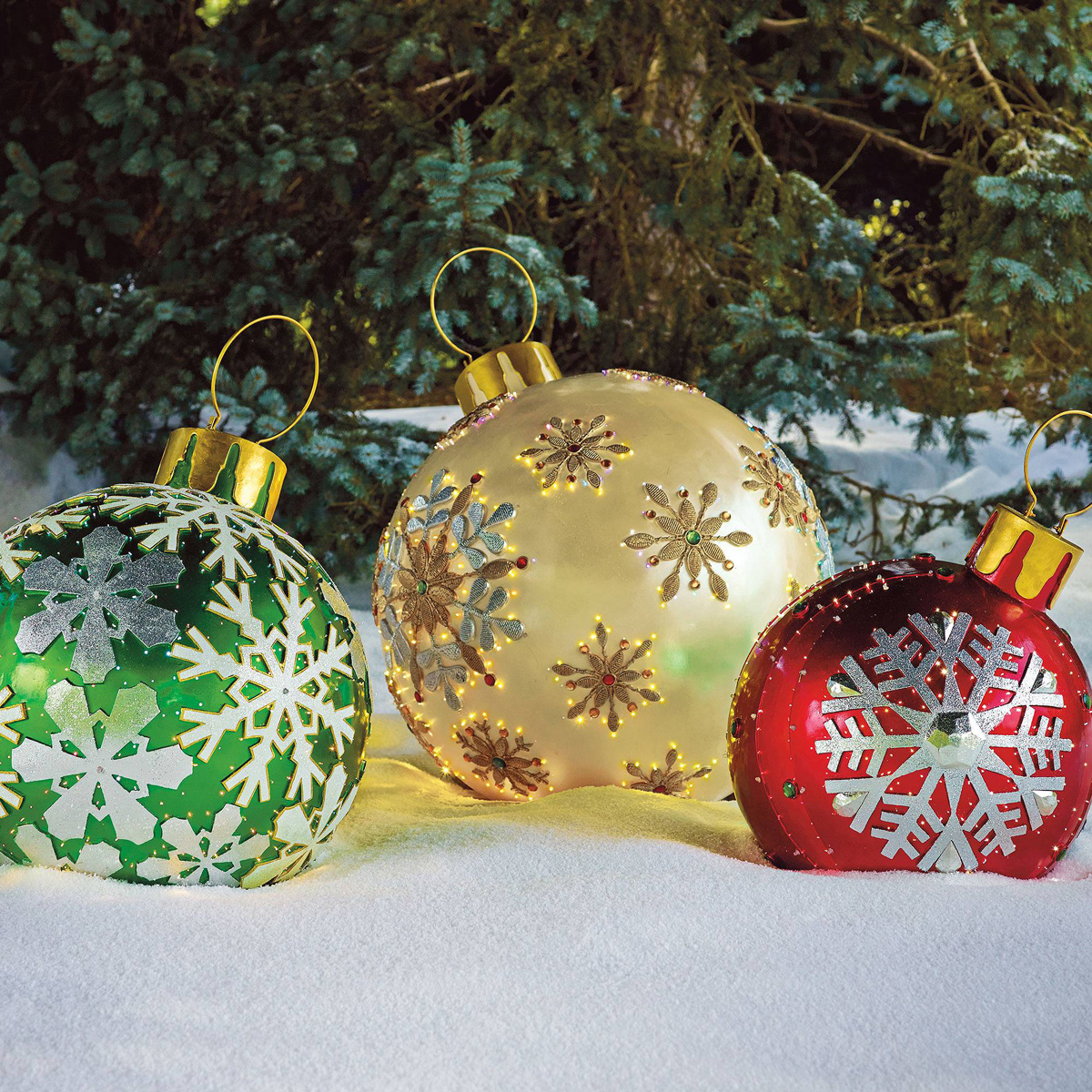 Massive Fiber-Optic LED Outdoor Christmas Ornaments