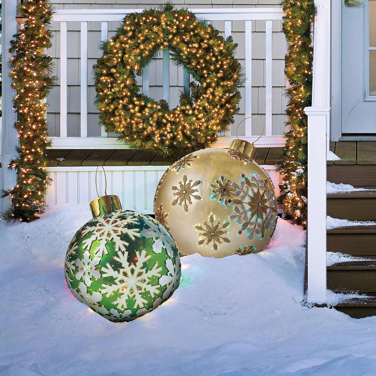 Massive fiber optic led outdoor christmas ornaments the green head - Outdoor dekoration ...
