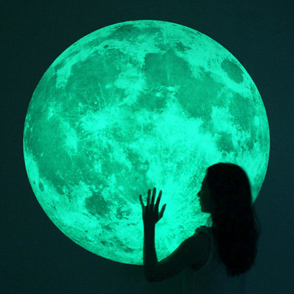 massive glow in the dark full moon wall sticker the moonlight glow in the dark moon wall decal sticker ceiling