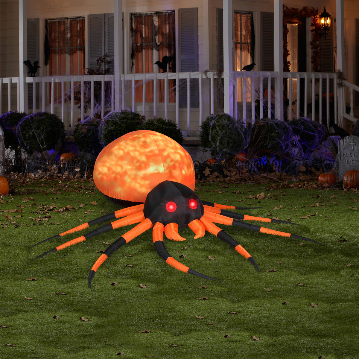 Massive inflatable orange fire and ice projection spider for Animated spider halloween decoration