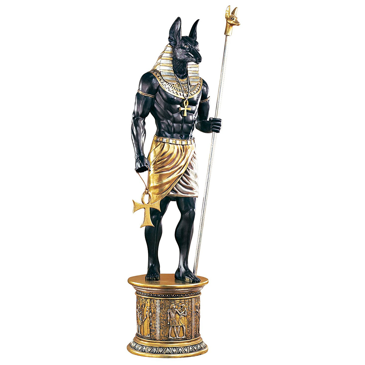 massive lifesize egyptian anubis statue   the green head
