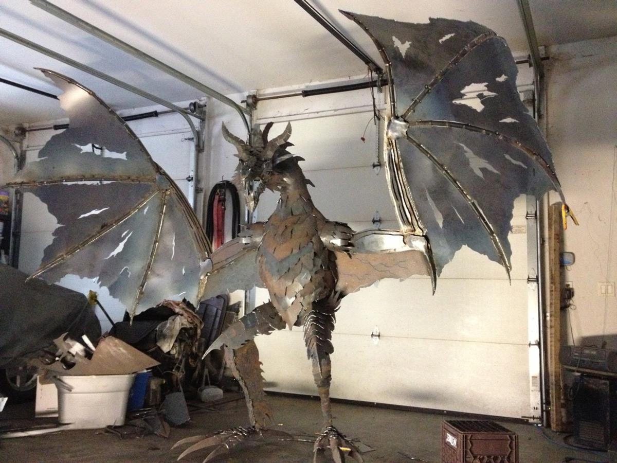 Massive Metal Dragon Sculpture The Green Head