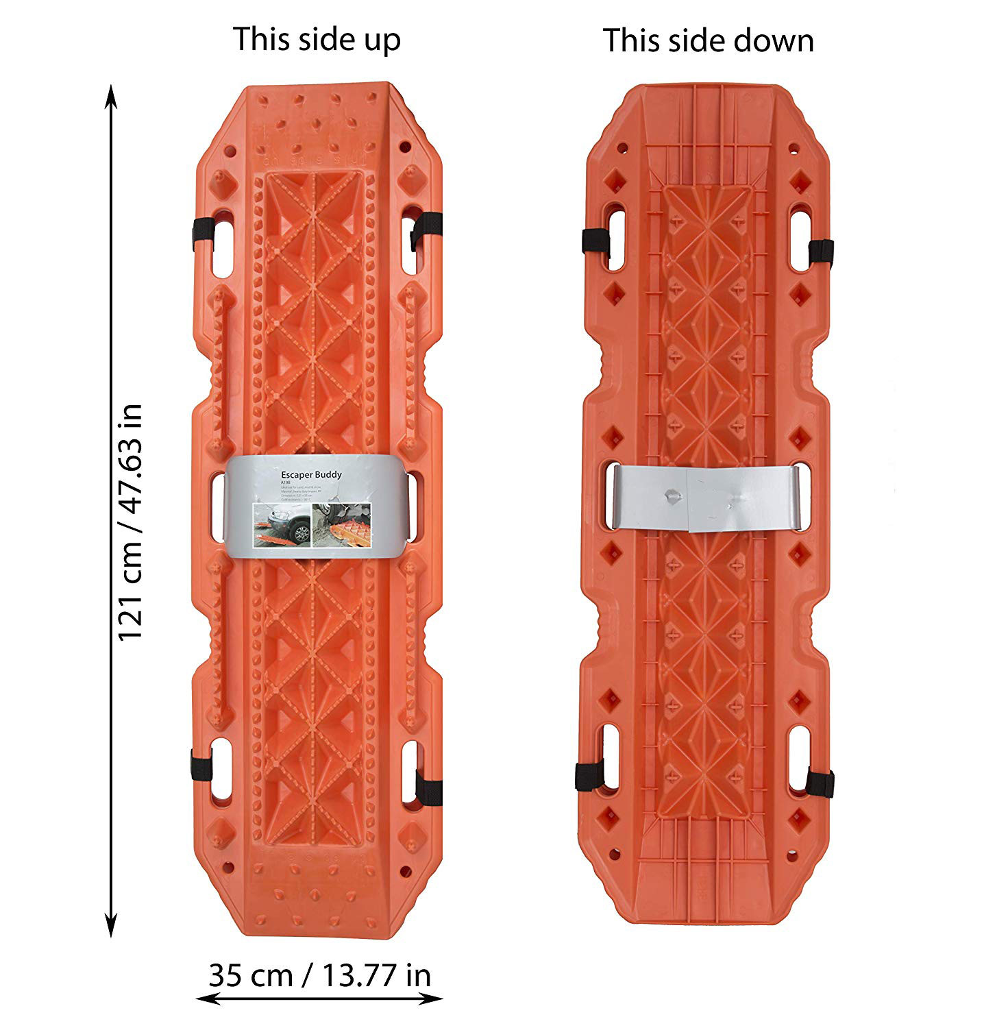 Snow Vehicle Extraction Sand Set of 2 Black FIREBUG Escaper Buddy Traction Mats for Off-Road Mud