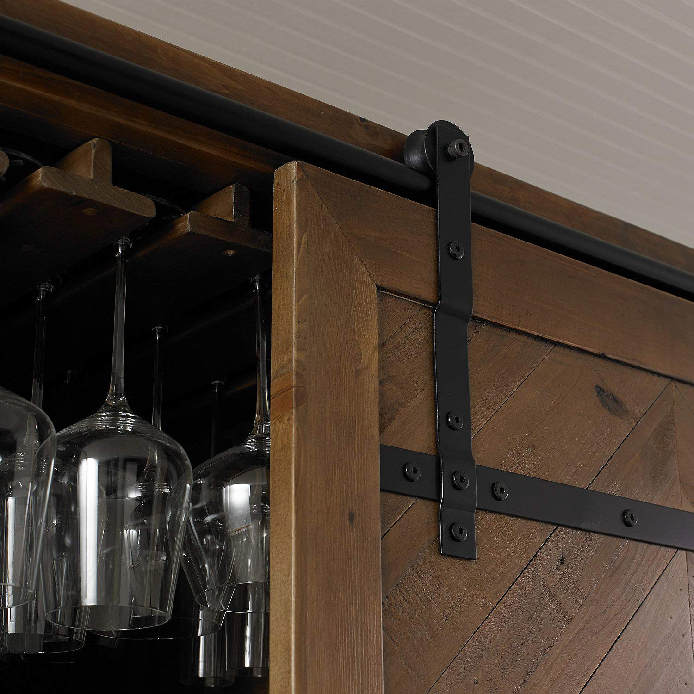 Mesa Sliding Barn Door Armoire Rustic Wine Cellar Liquor Cabinet